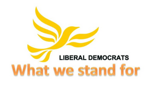 What we stand for with Lib Dem logo