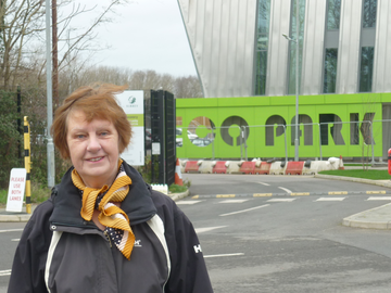 Cllr Sandra Dunn at the Eco Park (Spelthorne Liberal Democrats)